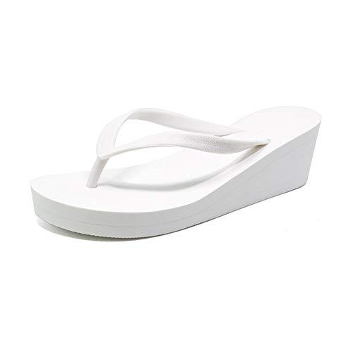 Women Flip-Flops Thick Sole Wedge Thongs Slippers Solid Platform Lady Anti Skid Summer Beach Sandals White