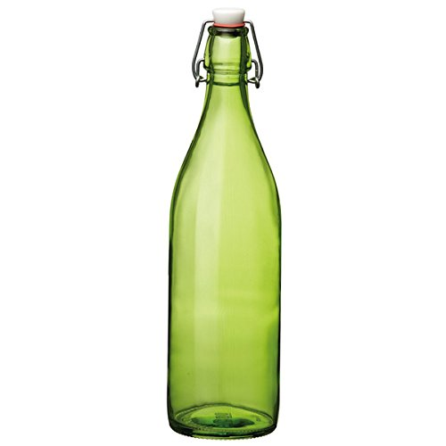 Giara Swing Top Bottle Green 1 Litre - Eco-Friendly Green Glass Bottle for Cordials and Preserves Bormioli Rocco
