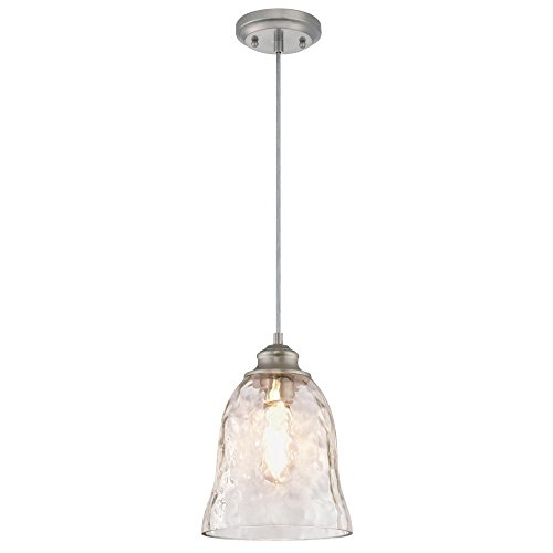 Westinghouse Lighting 6105800 One-Light Indoor Mini Pendant, Brushed Nickel Finish with Clear Hammered Glass (Pendant Mini Nickel Brushed)