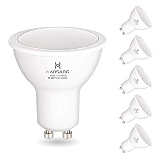 GU10 LED Bulbs Hansang Warm White(3000K),LED 6 Watt Equivalent 50W Halogen, 85-265VAC, 550 Lumens,RA>80,120° Beam Angle Frosted MR16 Shape GU10 Bulb, Recessed Light,Spotlight Non Dimmable 6 Pack