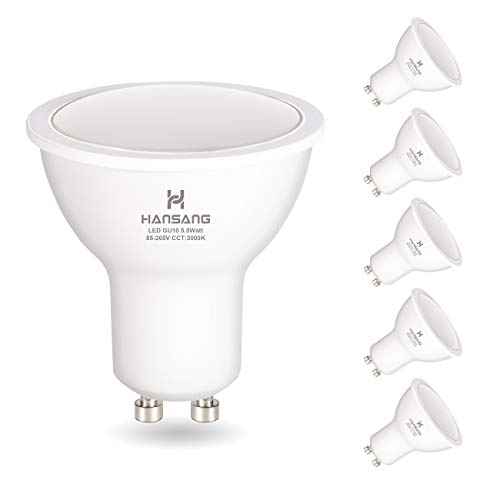 (GU10 LED Bulbs Hansang Warm White(3000K),LED 6 Watt Equivalent 50W Halogen, 85-265VAC, 550 Lumens,RA>80,120° Beam Angle Frosted MR16 Shape GU10 Bulb, Recessed Light,Spotlight Non Dimmable 6 Pack)