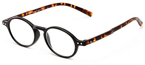 Readers.com The Scholar +2.00 Matte Black/Tortoise Round Tortoiseshell Cheater Glasses Oval Reading - Glasses Round Tortoiseshell