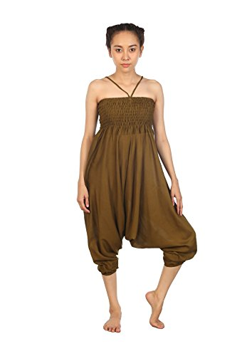 Lofbaz Jumpsuit Pantalones Harem de cintura Ojo de la flor fruncido para Mujeres Soild Verde oscuro