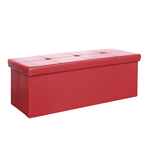 CorLiving LMY-550-O Denali Folding Storage Ottoman in Red Leatherette, 42-Inch, Red