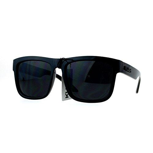 Kush Mens All Black Gangster Oversize Horn Rim Cholo Sunglasses - Mens Oversized Sunglasses
