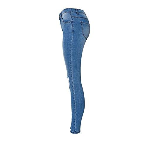 Cintura Mujeres Vaqueros Alta Para De Dril Algodón Las Mxnet Mezclilla Tamaño Pantalones Delgados Estiramiento La Personalidad Blue Del qxBHta