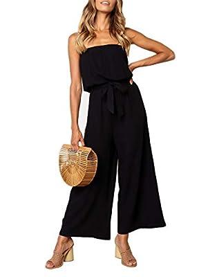 ZESICA Women's Casual Off Shoulder Solid Color Strapless Belted Wide Leg Jumpsuit Romper