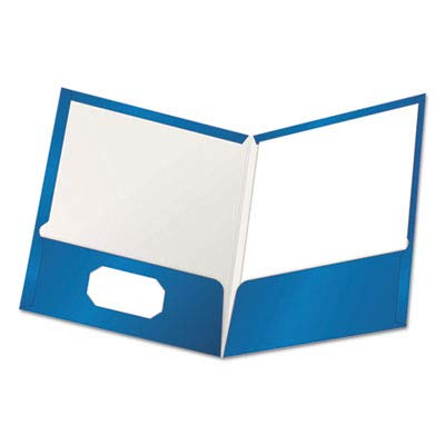 Oxford Laminated Twin Pocket Folders - Letter - 8.50quot; Width x 11quot; Length Sheet Size - 2 Pockets - Blue - 25 / Box