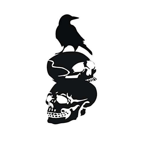 BESTOYARD 28 x 60cm Black Crow Skull Silhouette Wall Decals Self-Adhesive Wallpaper DIY Wall Sticker Halloween Party Decoration ()