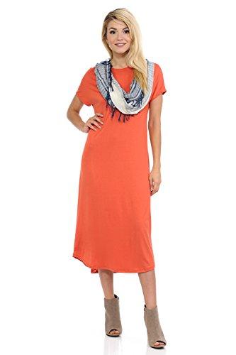 Line Rust (iconic luxe Women's A-Line Short Sleeve Midi Dress Medium Rust)