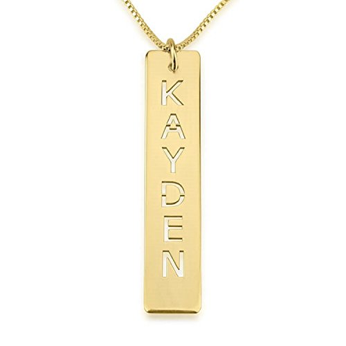 Personalized Custom 24k Gold Plated Cut Out Vertical Bar Necklace Jewelry ()