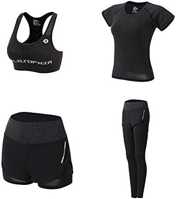 レディースジャージ上下セット カジュアル4ピースジャケットとロングスウェットパンツスポーツウェアトラックスーツセット (Color : Black, Size : XXL)