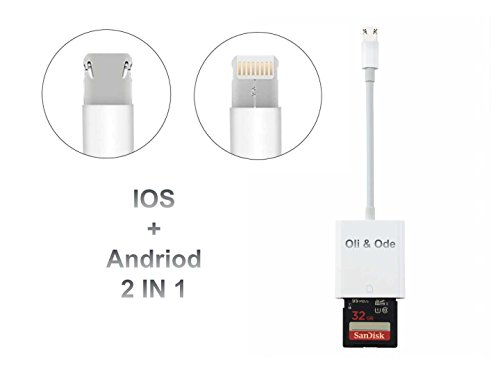 Oli & Ode SD Card Camera Reader, 2 in1 Android Micro USB Phone Lightning Connector for iPhone 5 5S 6 6S Plus 7 7 plus ipad & Android Phone Tablet(White) (Wifi Sd Card For Android)