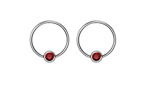 Pair of 18g 8mm Every-Day Surgical Steel Red Jeweled Captive Bead Ring Body Piercing Hoops