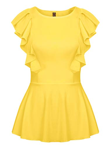 ANGGREK Womens Summer Sleeveless Peplum T Shirt Elegant Ruffle Tops Work Blouse Yellow S ()
