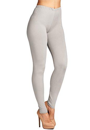 Leggings Mania Women's Plus Solid Color Full Length High Waist Leggings L Grey