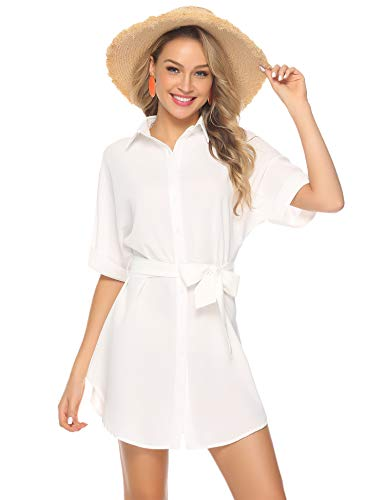 Abollria Women's Casual Short Sleeve Boyfriend Pocket Shirt Dress Tunic Top White