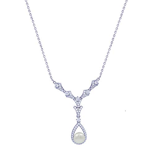 (J'ADMIRE 2 carats Swarovski Zirconia Freshwater Cultured Pearl Pear-Shape Drop Vintage Pendant Necklace, Platinum Plated Sterling Silver, 16