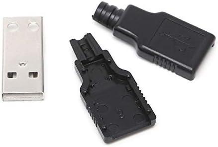 B119 Gimax 10Sets DIY USB 2.0 Type A Male USB 4 Pin Plug Socket Connector w//Plastic Cover