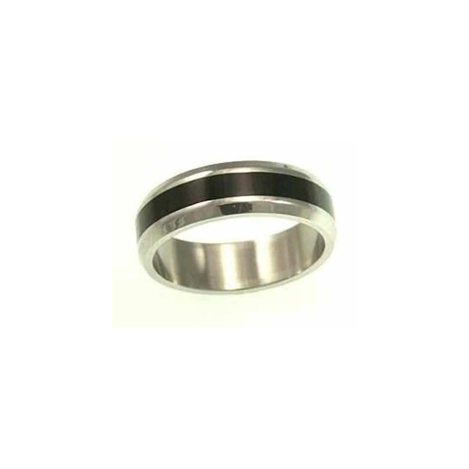 kala isjewels  Mens Stainless Steel Ring with Black Ruthenium  (width 6 mm )   Size 11