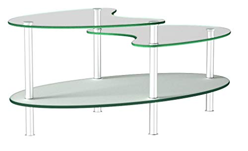 Ryan Rove Fenton 38 Inch Oval Two Tier Glass Coffee Table (Clear Top/Frosted Bottom)
