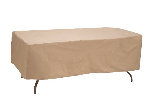 Protective Covers Weatherproof Table Cover, 60 Inch x 66 Inch , Oval/Rectangle Table, Tan