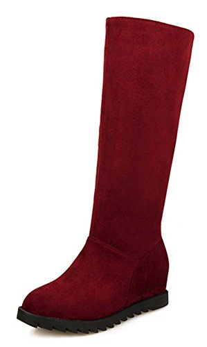 Mid Zipper Womens Calf Solid Heel CHFSO Red Fashion Boots Wedge Mid Waterproof Winter 0ZqOwxwI