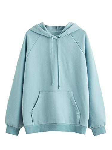 SweatyRocks Women's Long Sleeve Casual Fleece Drawstring Hoodie Sweatshirt Tops Light Blue XL