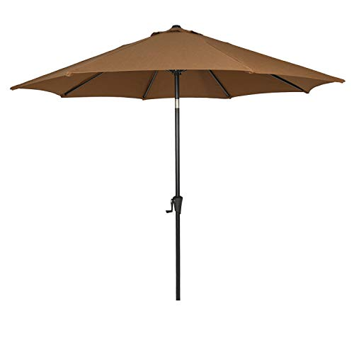 Ulax furniture Sunbrella 9 Ft Outdoor Umbrella Patio Market Umbrella Aluminum with Push Button Tilt&Crank, Canvas Teak