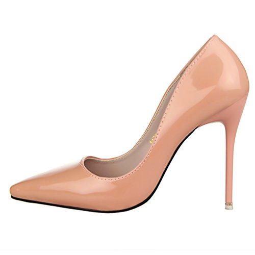 HooH Women's Simple Pointed Toe Work Shoes Dress Pump Nude S0x087