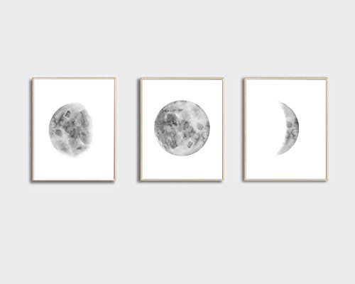 Moon Phases Wall Art Print, Moon Phases Poster, Bedroom Wall Decor, Moon Phases Print