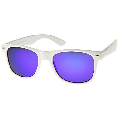 zeroUV - Hipster Fashion Flash Color Mirror Lens Horn Rimmed Style Sunglasses (White / - Sunglasses Violet