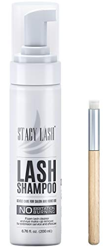 200ml BIG Eyelash Extension Shampoo Stacy Lash + Brush/Eyelid Foaming Cleanser/Wash for Extensions and Natural Lashes…