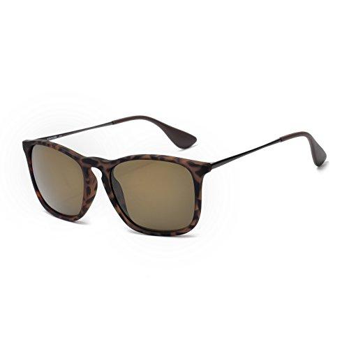 (Square Sunglasses for Men Scratch Resistant Lightweight Rectangular Retro Matte Frame 400UV Protection (Tortoise/ Brown Lens))