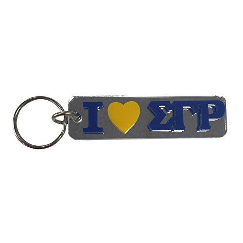 "Sigma Gamma Rho #MHK Acrylic ""I Heart"" Rectangle Mirrored Decorative Keychain (Gamma Rho Keychain Sigma)"
