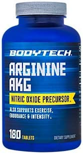 BodyTech Arginine AKG Arginine Alpha Ketoglutarate 3000 MG Nitric Oxide Precursor, 60 Servings 180 Tablets