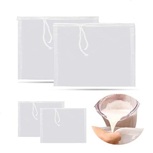4 bolsas reutilizables para colador de leche de almendra, 2 tamaños, malla de nailon de grado alimenticio de TuNan, filtro...