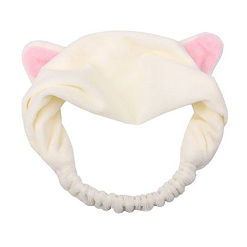 Sweet Lovely Coral Fleece Cat Ears Headband Fashion Cute Makeup Cosmetic Shower Elastic Hair Band Hairlace Headband (White)