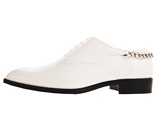 Bolano Mens Patent Plain Toe Oxford Dress Shoe with Chain on Heel Style Chainz White clearance 100% authentic deals for sale clearance 2014 unisex butiXFgnS