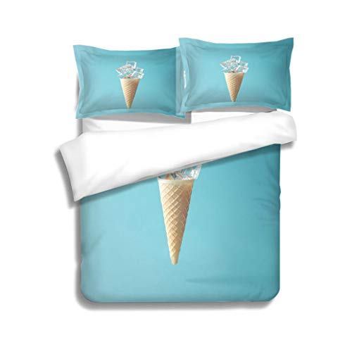 MTSJTliangwan Duvet Cover Set Ice Cream Cone with ice Cubes Minimal Concept 3 Piece Bedding Set with Pillow Shams, Queen/Full, Dark Orange White Teal Coral