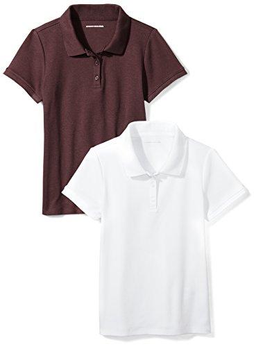 Amazon Essentials Girls' Uniform 2-Pack Interlock Polo, Burgundy/White, XL (12) by Amazon Essentials
