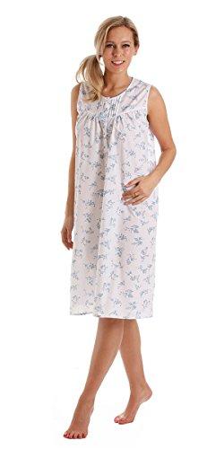Camisón para mujer de polialgodón sin tirantes de color blanco con estampado floral en azul o rosa Multicolor - azul