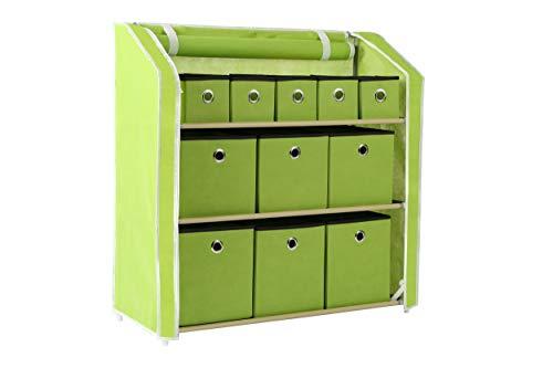 Homebi Multi-Bin Storage Shelf 11 Drawers Storage Chest Linen Organizer Closet Cabinet with Zipper Covered Foldable Fabric Bins and Sturdy Metal Shelf Frame in Green,31W x12 Dx32H