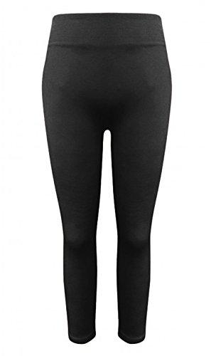 Girls Winter Warm Fleece Lined Seamless Thick Leggings- Black, (Girls Fleece Lined Jeans)