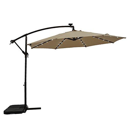 Paulla 10Ft LED Lighted Hanging Offset Umbrella Outdoor Cantilever Market  Umbrella With Crank, 8 Ribs