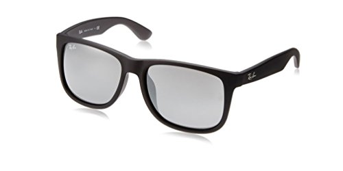 Ray-Ban RB4165 JUSTIN 622/6G 55M Rubber Black/Grey Mirror Silver Sunglasses For Men For Women