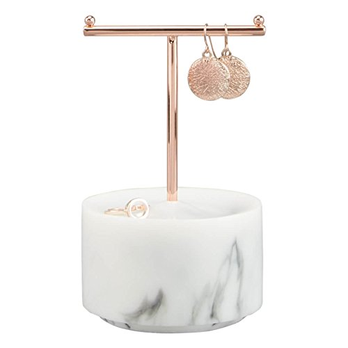 (Stackers Rose Gold T -Bar Jewelry Hanger with white marble)