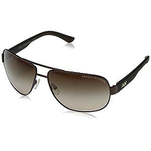 Armani Exchange Men's Metal Man Sunglass 0AX2012S Aviator Sunglasses, Satin Dark Brown/Dark Olive, 62 mm