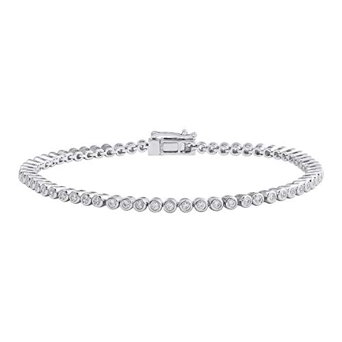 - 1.00 Carat (ctw) Bezel Set Round Diamond Ladies Tennis Link Bracelet in 14K White Gold - IGI Certified