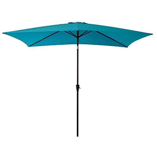 FLAME&SHADE Rectangular Outdoor Patio Market Umbrella 6'6″ x 10 Crank Lift, Push Button Tilt, Aqua Blue Review